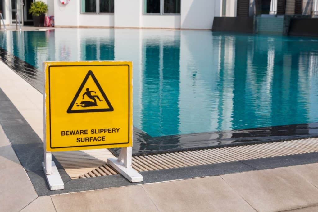 Concrete pool with a slippery surface