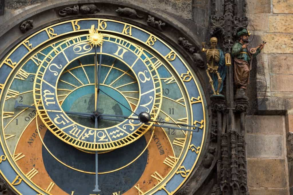 This is a super cool astronomical clock in Prague. It won't tell you the weather, but it will tell you the month which should give you a pretty good shot at guessing what the weather may be like.