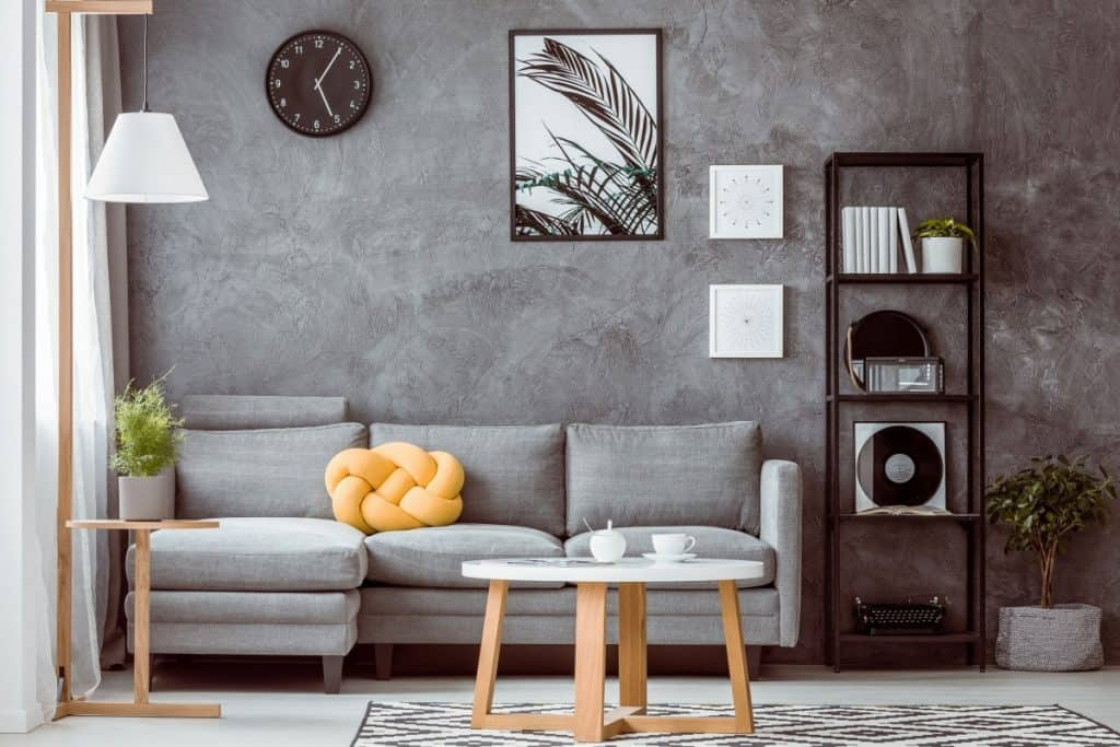 Painted concrete indoors