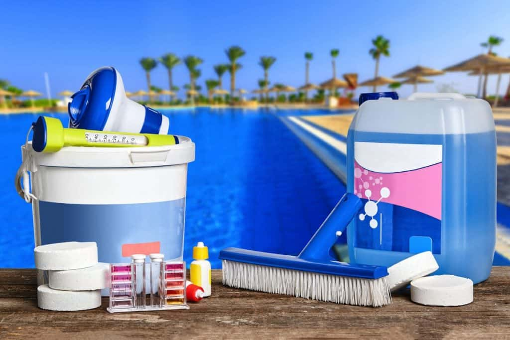 Products for cleaning a concrete pool