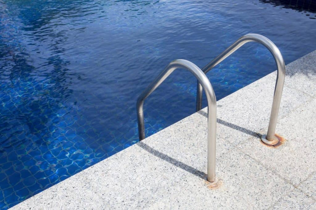 Concrete pool filled with water