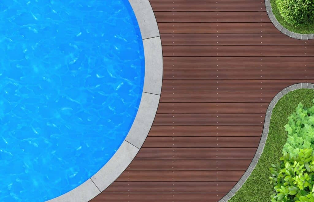 An in-ground concrete pool