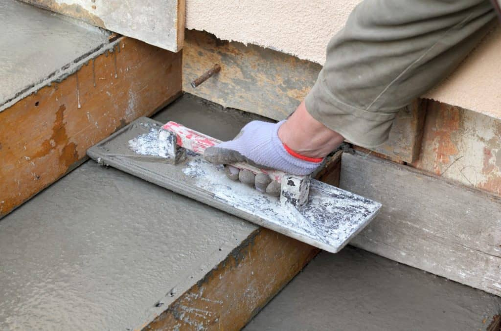 Using wooden forms to make concrete steps