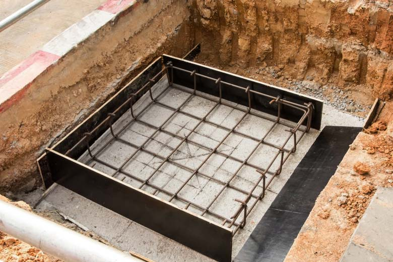 Constructing concrete footing