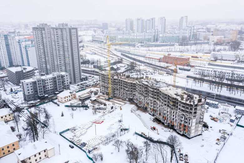 Construction site in winter