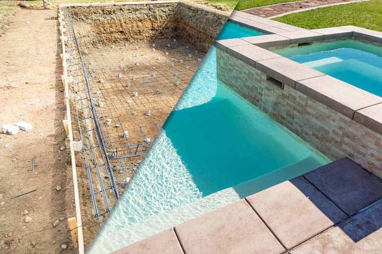 Building a concrete pool (before and after)