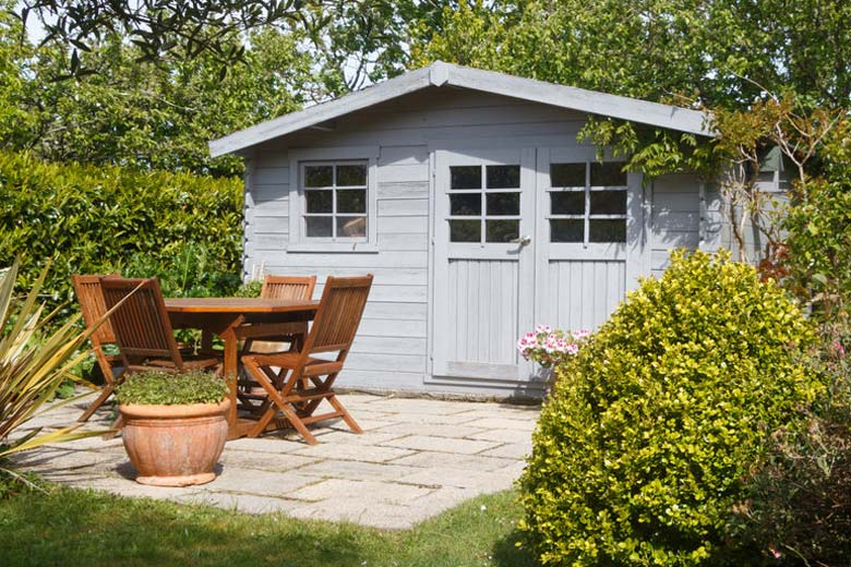 Shed with concrete foundation