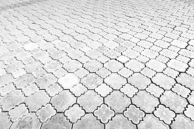 Newly cleaned concrete pavers